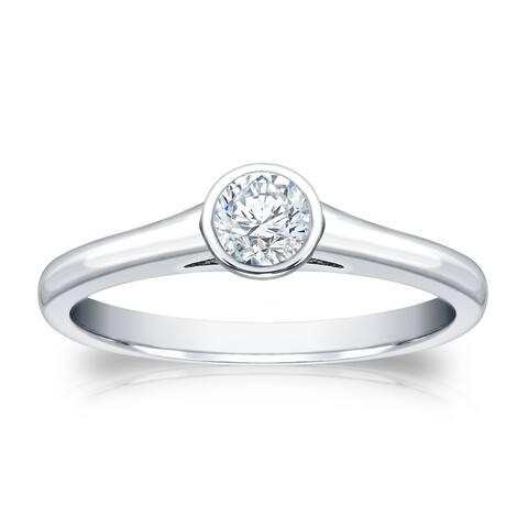Auriya Platinum 1/4ctw Bezel-set Solitaire Diamond Engagement Ring