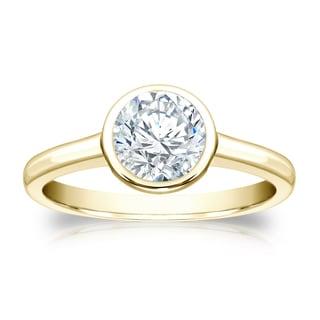 Auriya 18k Gold 1ct TDW Round-cut Diamond Bezel Solitaire Ring (H-I, SI1-SI2)