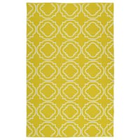 Indoor/Outdoor Laguna Yellow and Ivory Geo Flat-Weave Rug - 8' x 10'