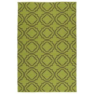 Indoor/Outdoor Laguna Avacado and Brown Geo Flat-Weave Rug (3'0 x 5'0) - 3' x 5'