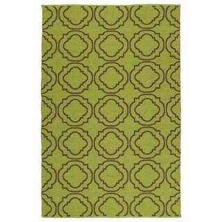 """Indoor/Outdoor Laguna Avacado and Brown Geo Flat-Weave Rug (5'0 x 7'6) - 5' x 7'6"""""""