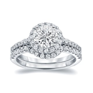 Auriya 14k White Gold 1 1/4ct TDW Certified Round-cut Diamond Halo Bridal Ring Set
