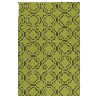 Indoor/Outdoor Laguna Avacado and Brown Geo Flat-Weave Rug (9'0 x 12'0)