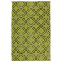 Indoor/Outdoor Laguna Avacado and Brown Geo Flat-Weave Rug - 9' x 12'