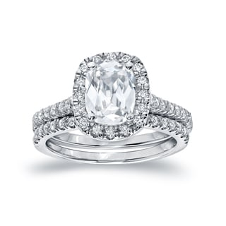 Auriya 14k White Gold 2ct TDW Certified Cushion-cut Diamond Bridal Ring Set (H-I, SI1-SI2)