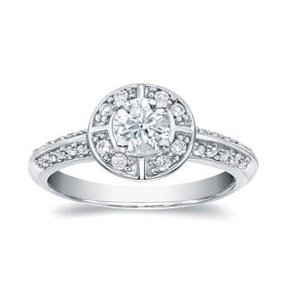 Auriya 14k Gold 3 4ctw Round Halo Diamond Engagement Ring