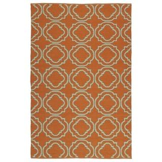 Indoor/Outdoor Laguna Orange and Turquoise Geo Flat-Weave Rug (3' x 5')