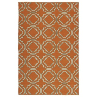 Indoor/Outdoor Laguna Orange and Turquoise Geo Flat-Weave Rug (3'0 x 5'0) - 3' x 5'