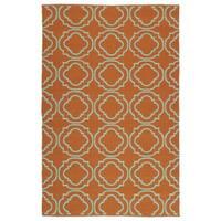 Indoor/Outdoor Laguna Orange and Turquoise Geo Flat-Weave Rug - 5' x 7'6