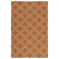 Indoor/Outdoor Laguna Orange and Turquoise Geo Flat-Weave Rug - 8' x 10'