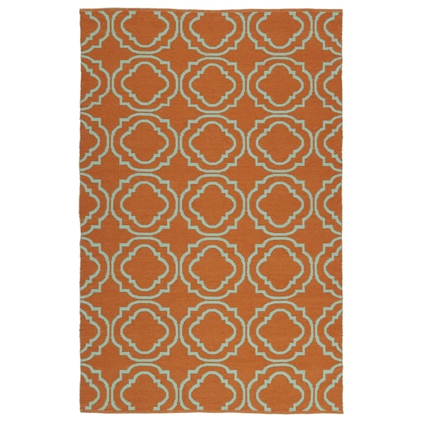 Indoor/Outdoor Laguna Orange and Turquoise Geo Flat-Weave Rug - 9' x 12'