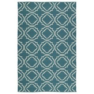 Indoor/Outdoor Laguna Teal and Ivory Geo Flat-Weave Rug - 3' x 5'