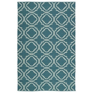 Indoor/Outdoor Laguna Teal and Ivory Geo Flat-Weave Rug (9'0 x 12'0)