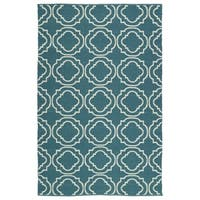 Indoor/Outdoor Laguna Teal and Ivory Geo Flat-Weave Rug - 9' x 12'