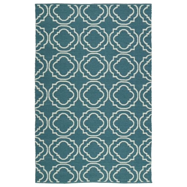 Indoor/Outdoor Laguna Teal and Ivory Geo Flat-Weave Rug - 8' x 10'
