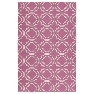 Indoor/Outdoor Laguna Pink and Ivory Geo Flat-Weave Rug (3'0 x 5'0)