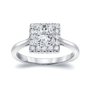 Auriya 14k White Gold 1 3/4ct TDW Princess-cut Diamond Halo Engagement Ring
