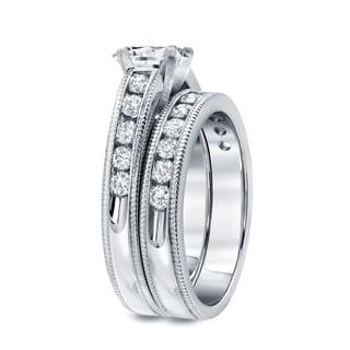 Auriya 14k White Gold 2ct TDW Certified Round Diamond Bridal Ring Set