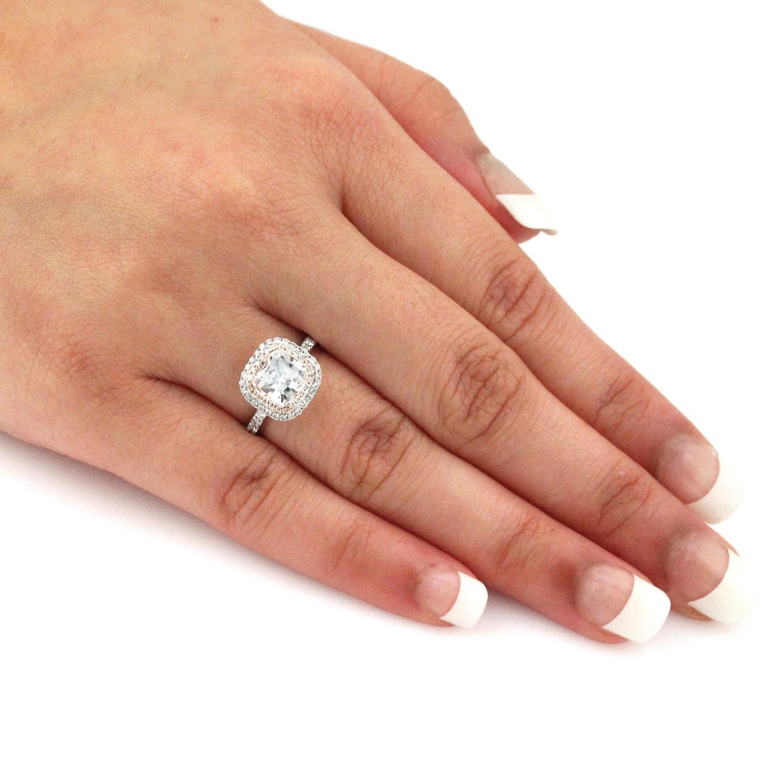Auriya 1 3 4ct Tdw Cushion Cut Diamond Halo Engagement Ring 14k Two Tone Rose And White Gold
