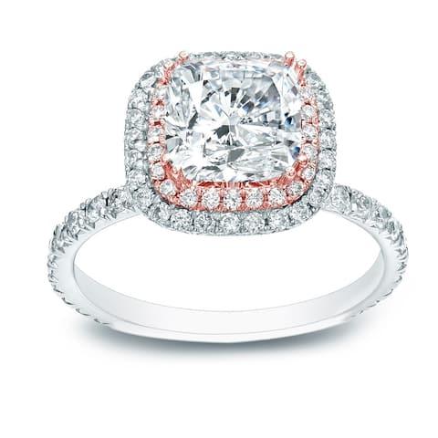 Auriya 14k Two-tone Gold 1 3/4ctw Cushion-cut Halo Diamond Engagement Ring Certified