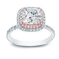 Auriya 1 3/4ct TDW Cushion-cut Diamond Halo Engagement Ring 14k Two-tone Rose and White Gold