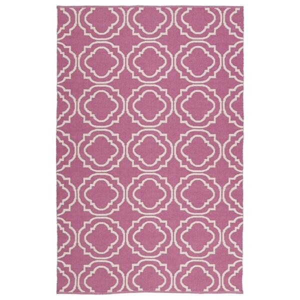 Indoor/Outdoor Laguna Pink and Ivory Geo Flat-Weave Rug - 8' x 10'