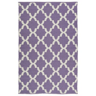 Indoor/Outdoor Laguna Lilac and Ivory Trellis Flat-Weave Rug (9'0 x 12'0) - 9' x 12'