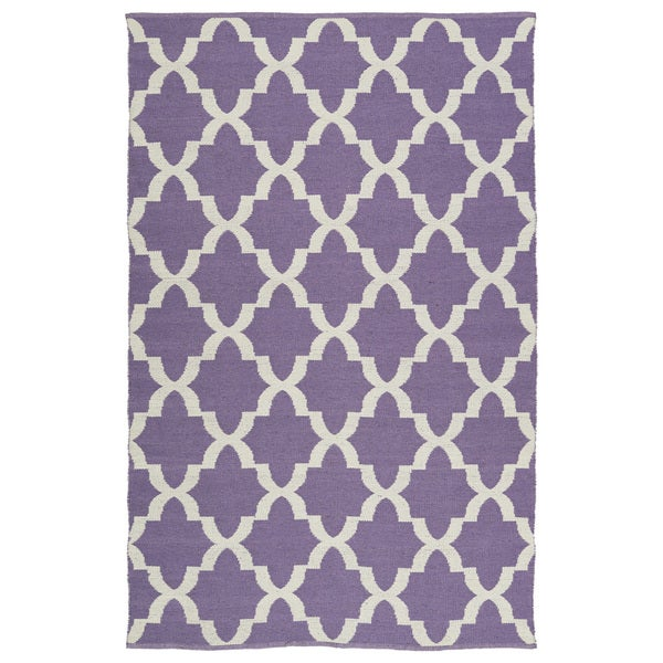 Indoor/Outdoor Laguna Lilac and Ivory Trellis Flat-Weave Rug - 9' x 12'