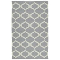 Indoor/Outdoor Laguna Grey and Ivory Geo Flat-Weave Rug - 9' x 12'