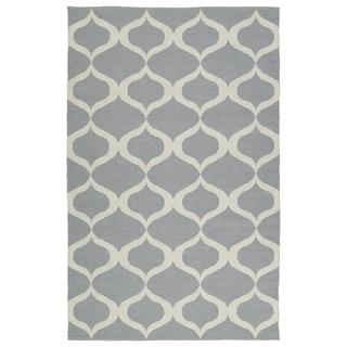 Indoor/Outdoor Laguna Grey and Ivory Geo Flat-Weave Rug (8'0 x 10'0) - 8' x 10'