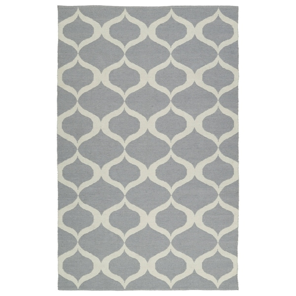 Indoor/Outdoor Laguna Grey and Ivory Geo Flat-Weave Rug - 8' x 10'