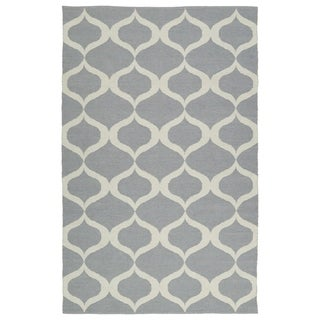 Indoor/Outdoor Laguna Grey and Ivory Geo Flat-Weave Rug (3' x 5')