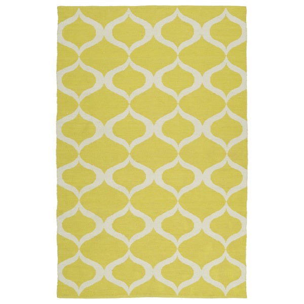 Indoor/Outdoor Laguna Yellow and Ivory Geo Flat-Weave Rug - 9' x 12'
