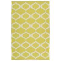 Indoor/Outdoor Laguna Yellow and Ivory Geo Flat-Weave Rug - 9' x 12'