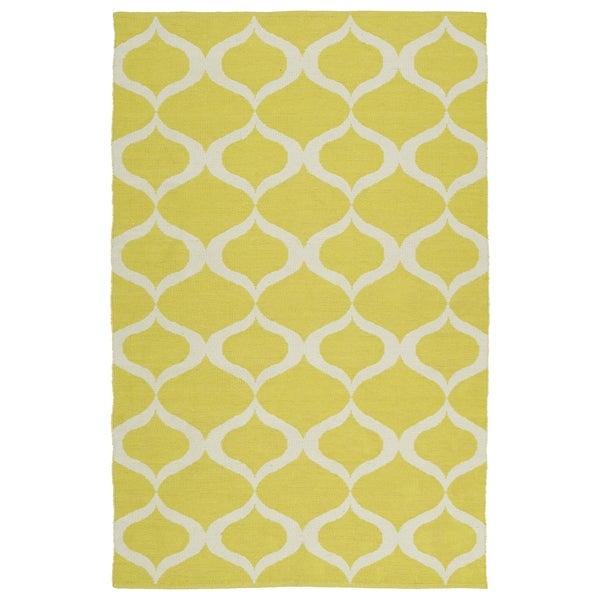 Indoor/Outdoor Laguna Yellow and Ivory Geo Flat-Weave Rug - 8' x 10'
