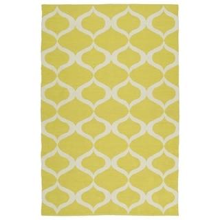 "Indoor/Outdoor Laguna Yellow and Ivory Geo Flat-Weave Rug (5'0 x 7'6) - 5' x 7'6"""