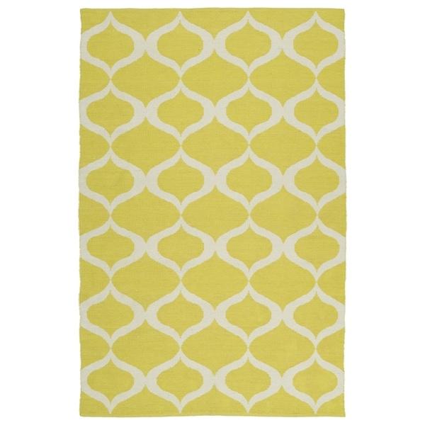 "Indoor/Outdoor Laguna Yellow and Ivory Geo Flat-Weave Rug - 5' x 7'6"""