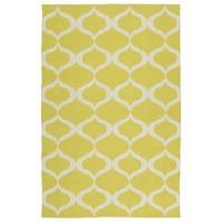 Indoor/Outdoor Laguna Yellow and Ivory Geo Flat-Weave Rug - 5' x 7'6""