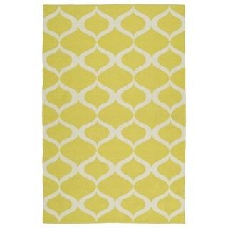 Indoor/Outdoor Laguna Yellow and Ivory Geo Flat-Weave Rug (3'0 x 5'0) - 3' x 5'