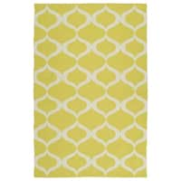 Indoor/Outdoor Laguna Yellow and Ivory Geo Flat-Weave Rug - 3' x 5'
