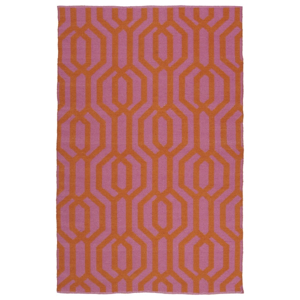Indoor/Outdoor Laguna Pink and Paprika Geo Flat-Weave Rug - 9' x 12'