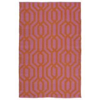 Indoor/Outdoor Laguna Pink and Paprika Geo Flat-Weave Rug (8'0 x 10'0)