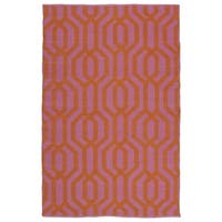 Indoor/Outdoor Laguna Pink and Paprika Geo Flat-Weave Rug - 5' x 7'6