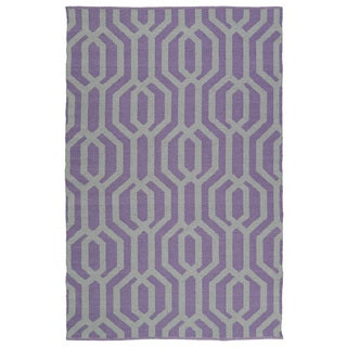 Indoor/Outdoor Laguna Lilac and Grey Geo Flat-Weave Rug (9'0 x 12'0)