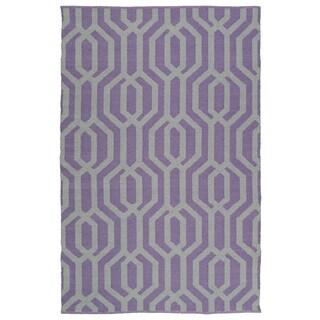 Indoor/Outdoor Laguna Lilac and Grey Geo Flat-Weave Rug (9'0 x 12'0)