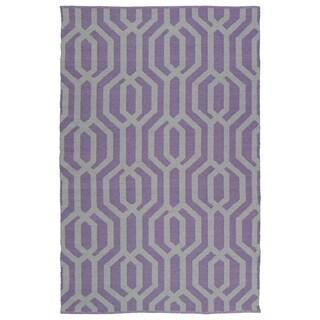Indoor/Outdoor Laguna Lilac and Grey Geo Flat-Weave Rug (3' x 5')
