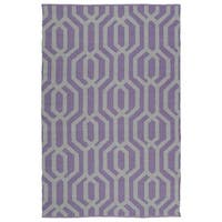Indoor/Outdoor Laguna Lilac and Grey Geo Flat-Weave Rug - 3' x 5'