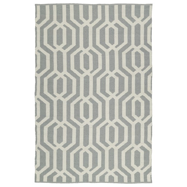 Indoor/Outdoor Laguna Grey and Ivory Geo Flat-Weave Rug - 9' x 12'