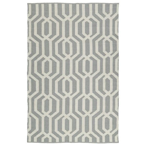 Indoor/Outdoor Laguna Grey and Ivory Geo Flat-Weave Rug - 8' x 10'