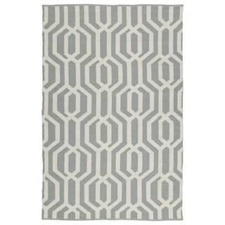 Indoor/Outdoor Laguna Grey and Ivory Geo Flat-Weave Rug (8'0 x 10'0)